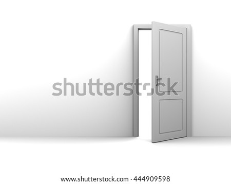 3d illustration of background with half open door and copy space