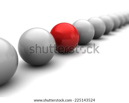 3d illustration of balls row with one unique - stock photo