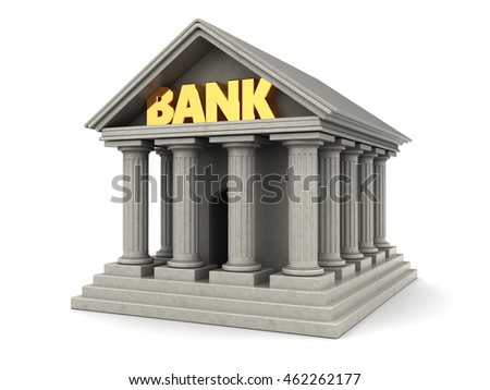 3d illustration of bank building, over white background