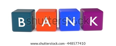 3d illustration of BANK word from colored cubes