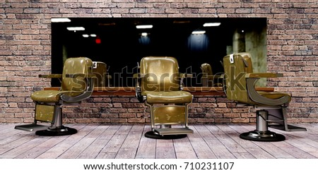 3d illustration of barber shop chairs