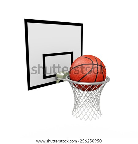 3d illustration of basketball hoop with ball on white background - stock photo