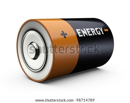 3D illustration of battery isolated over white background