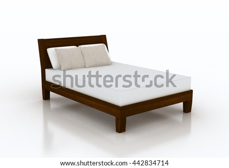 3D illustration of bed with mattress and pillows. I have designed the bed frame by myself. You may find this bed frame with no mattress in my portfolio. - stock photo
