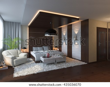 3d illustration of bedroom interior design in a contemporary style.   - stock photo