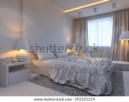 3d illustration of bedroom interior design in a modern style. Bedroom in without colors opposite the bed side table with a console TV. Under the window area for relaxation