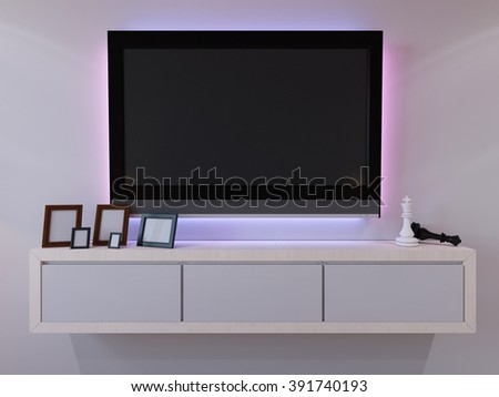3d illustration of bedroom interior design in a modern style.Side table with a console TV.