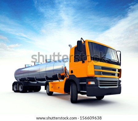 3d illustration of big orange fuel tanker truck - stock photo