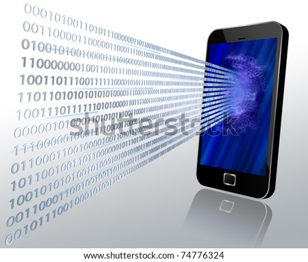 3D illustration of binary code coming through modern touch screen mobile phone