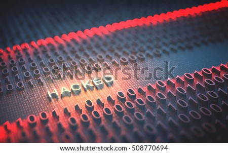"3D illustration of binary code interrupted by the word ""Hacked"""