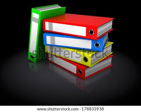 3d illustration of binder folders stack over black background - stock photo