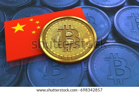3d illustration of bitcoin over blue coins background with china flag