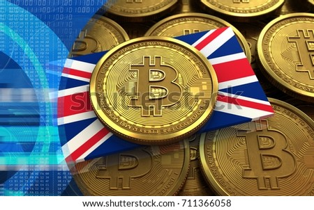 3d illustration of bitcoin over coins stacks background with UK flag