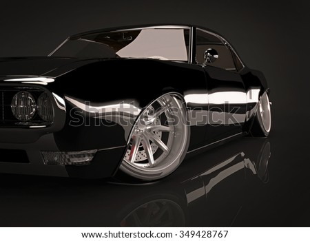 3d illustration of black tuned muscle car on black background