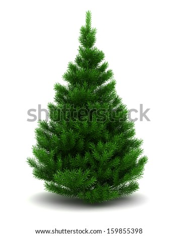3d illustration of blank christmas tree, isolated over white background - stock photo