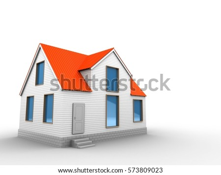 3d illustration of blank over white background with house