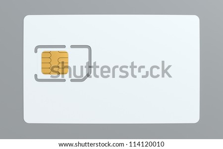 3d illustration of blank simcard template