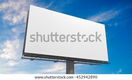 3D illustration of blank white billboard against blue sky. - stock photo