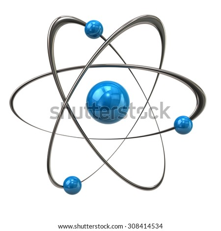 3d illustration of blue atom icon - stock photo