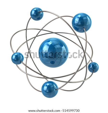 3d illustration of blue atom molecule icon isolated on white background