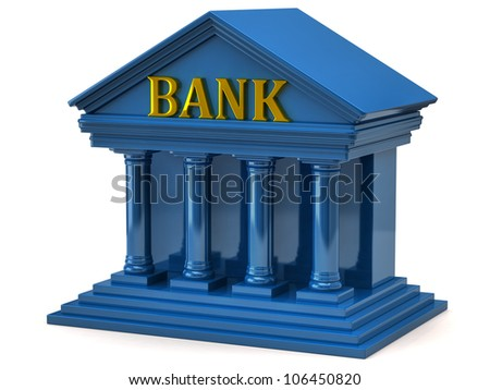 3d illustration of blue bank