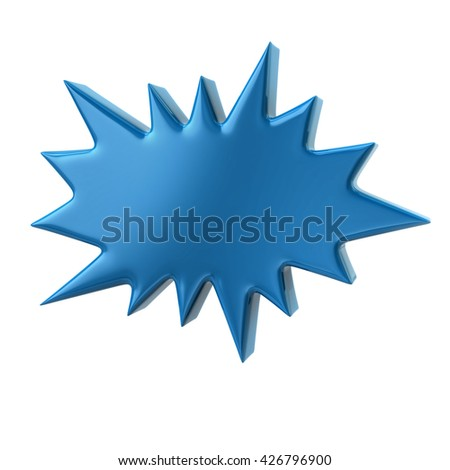 3d illustration of blue bursting star isolated on white background - stock photo