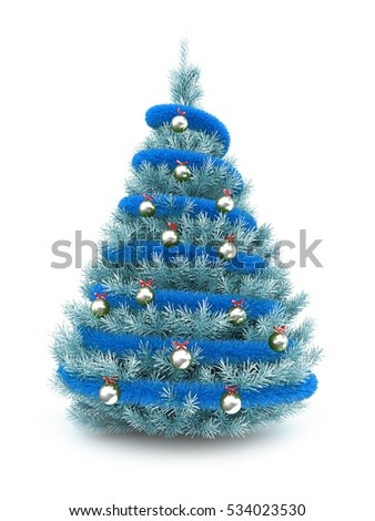 3d illustration of blue christmas tree over white background with blue tinslel and metallic balls - Blue Christmas Trees