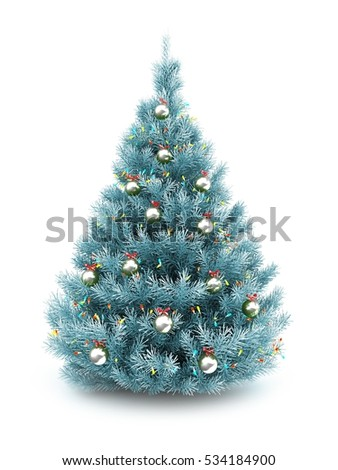 3d illustration of blue christmas tree over white background with lights and metallic balls - Blue Christmas Tree