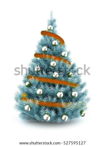 3d illustration of blue Christmas tree over white background with orange tinsel and silver balls