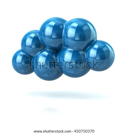 3d illustration of blue cloud isolated on white background - stock photo