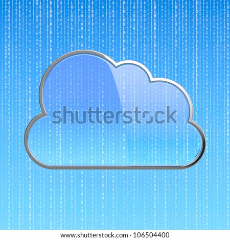 3D illustration of blue computing cloud diagram - stock photo