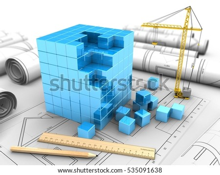 3d illustration of blue cube over drawings background with crane