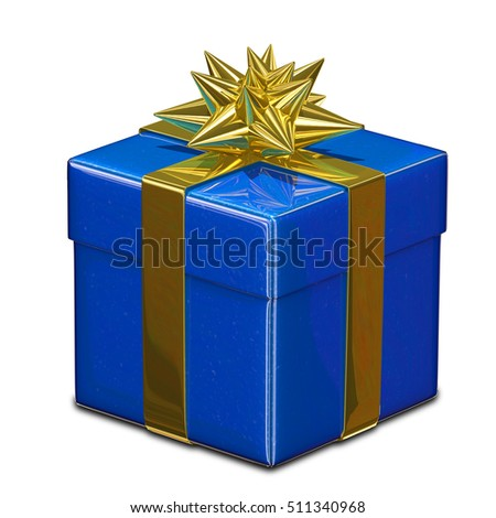 3D Illustration of Blue Gift Box with Golden Ribbon