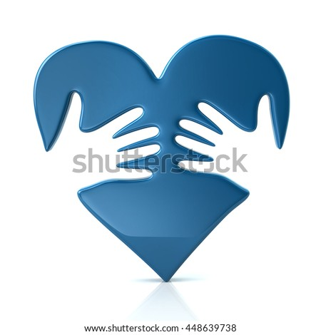 3d illustration of blue heart and hands isolated on white background - stock photo