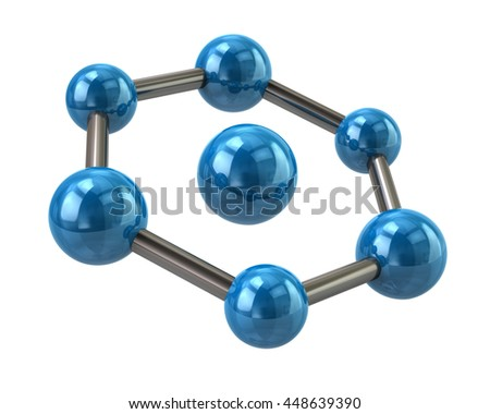 3d illustration of blue molecule icon isolated on white background - stock photo