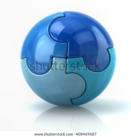 3d illustration of blue spherical puzzle globe isolated on white background