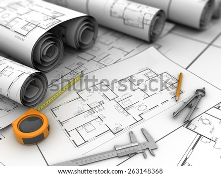 3d illustration of blueprints and drawing tools - stock photo