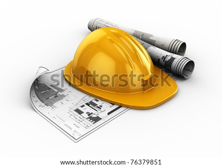 3d illustration of blueprints and hardhat, over white background