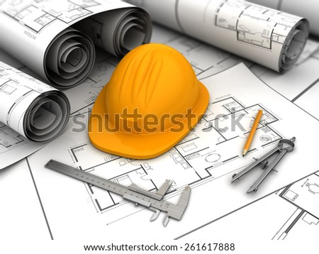 3d illustration of blueprints, drawing tools and helmet - stock photo