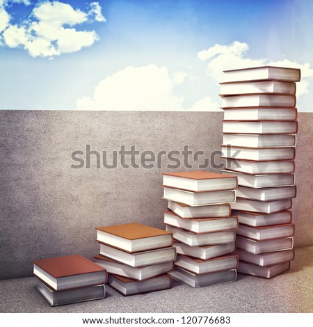 3d illustration of books piles and concrete wall