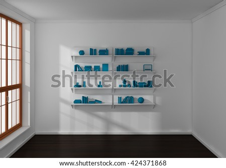 3d illustration of bookshelves with books and decorations. - stock photo