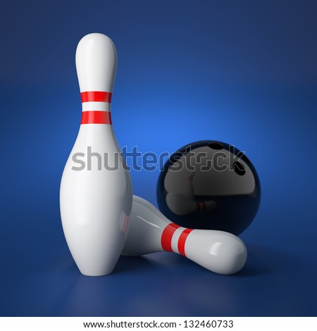 3d illustration of bowling concept on blue background