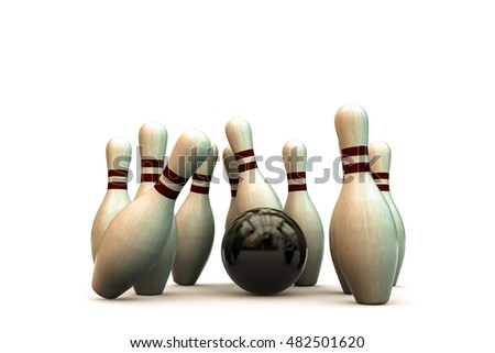 3d illustration of bowling pins isolated on white background