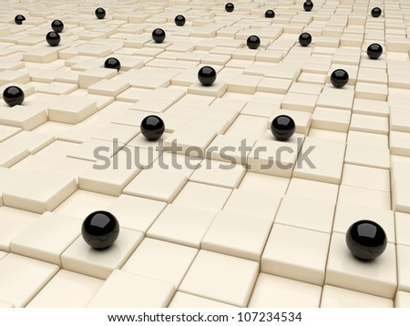 3d illustration of box background with black spheres - stock photo
