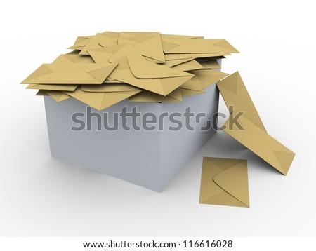 3d illustration of box full of envelopes. - stock photo