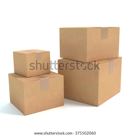 3d illustration of boxes
