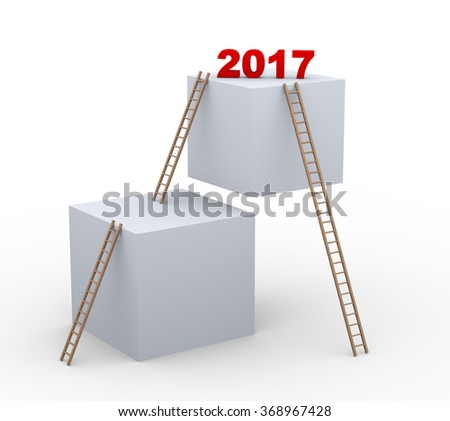 3d illustration of boxes and ladders with text 2017 - stock photo