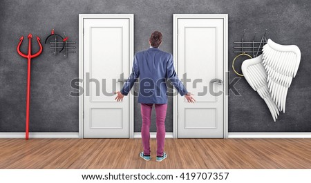 3d illustration of boy before a white doors