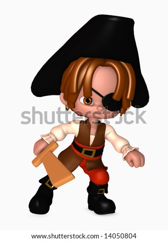 3d illustration of boy dressed up as a happy little pirate with sword