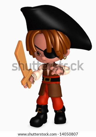3d illustration of boy dressed up as a happy little pirate with sword - stock photo